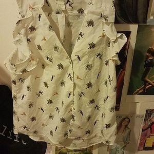H&M sleeveless white blouse tropical print size 6